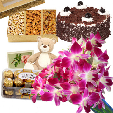 """Angelic Combo - 6 Purple Orchids + 6"""" Teddy + 1/2 Kg Cake + Ferrero Rocher 16 Pcs + Assorted Dry Fruits Box 200 Gms + Card"""