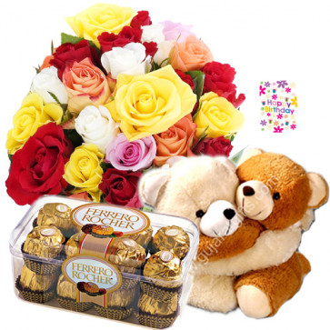 Exemplary Combo - Basket 15 Mix Roses + Fererro Rocher 16 Pcs + Couple Teddy + Card
