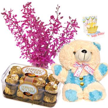 """Commendable - Bouquet 10 Purple Orchids + Fererro Rocher 16 Pcs + Teddy Bear 8"""" + Card"""