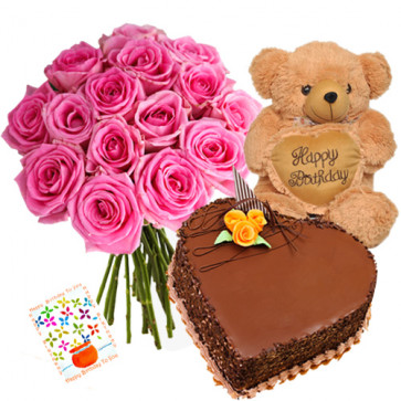 """Respectable - Bouquet Of 15 Pink Roses + Teddy Bear 10"""" + 1 Kg Heart Shaped Chocolate Cake + Card"""