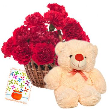 "Warm Feelings - Basket 15 Red Carnations + Teddy Bear 6"" + Card"