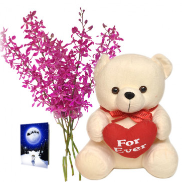 """Engaging - Bouquet Of 12 Purple Orchids + 6"""" Teddy Bear + Card"""