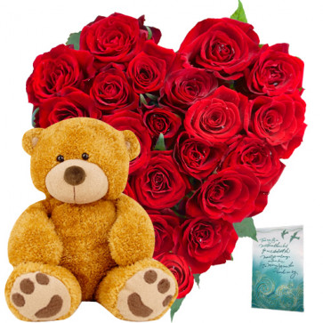 """Stunning Gifts - Heart Shaped Arrangement 20 Red Roses + Teddy Bear  6"""" + Card"""