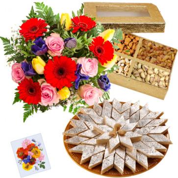 Splendid Combo - 15 Mixed Flowers + 500 Gms Assorted Dry Fruit Box + 500 Gms Of Kaju Katli + Card