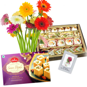 Superior Choice - Bouquet 12 Multi Color Gerberas + Assorted Sweet Box 250 Gms + Soan Papdi Box 250 Gms + Card
