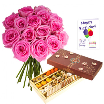 Astonishing Duo - 12 Pink Roses In A Bouquet + 500 Gms Assorted Sweets Box + Card