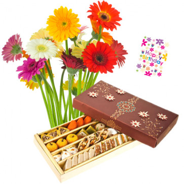 Sensational - Bouquet Of 15 Multi Color Gerberas + 500 Gms Assorted Sweets Box + Card