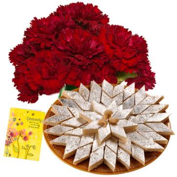 Terrific - 12 Red Carnations + Kaju Katli Box 250 Gms + Card