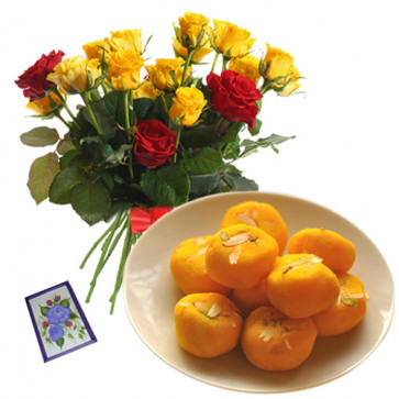 Mesmeric Combo - 20 Red And Yellow Roses Bouquet + Kesar Penda 500 Gms  + Card