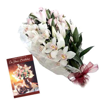 White Orchids - 12 White Orchids Bunch + Card
