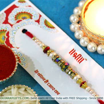 Delicate Pearl & Diamond Rakhi