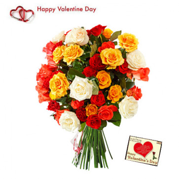 Valentine Mix Bouquet - 40 Mix Roses Bouquet + Card