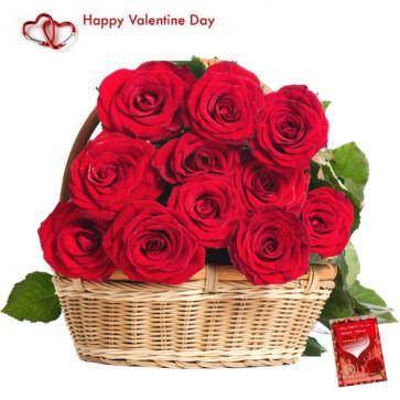 Valentine Basket of Roses - 15 Red Roses Basket + Card