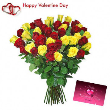 Red & Yellow Roses - 20 Red Roses + 20 Yellow Roses + Card