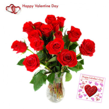 Flowers for You - 24 Red Roses in Vase + Card