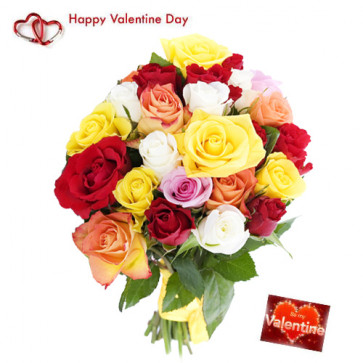 Valentine Mix Bunch - 75 Mix Roses Bunch + Card