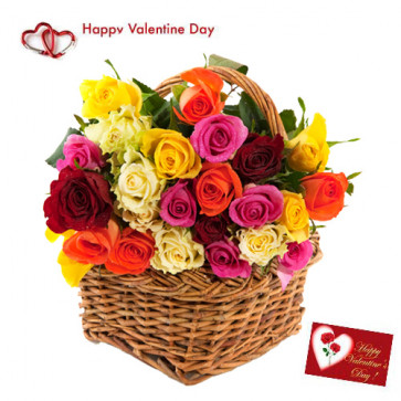 Valentine Mix Basket - 10 Red Roses + 10 Pink Roses + 10 Yellow Roses in Basket + Card