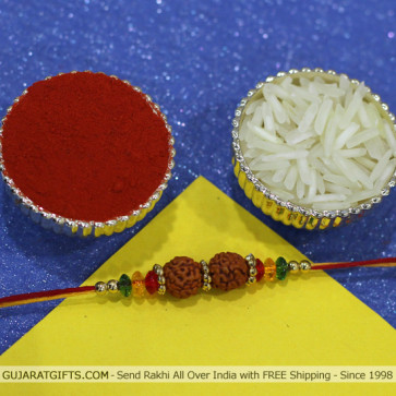 Colorful Rudraksha & Bead Rakhi