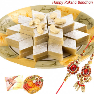 Bandhan of Love - Kaju Katli with Bhaiya Bhabhi Rakhi Pair and Roli-Chawal