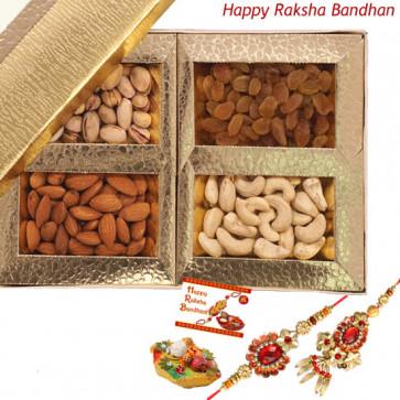 Rakhi Sentiments - Assorted Dry Fruits with Bhaiya Bhabhi Rakhi Pair and Roli-Chawal
