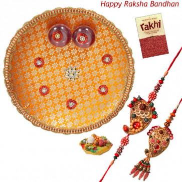 Fabulous Thali - Puja Thali (O) with Bhaiya Bhabhi Rakhi Pair and Roli-Chawal