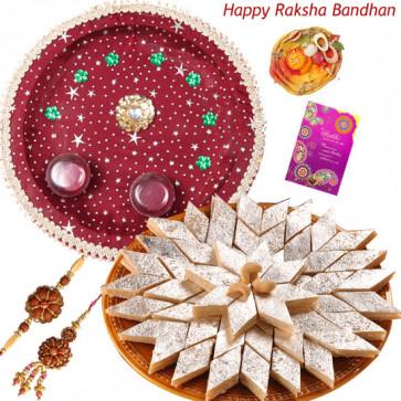 Sweet Moments Pair Thali - Puja Thali (M), Kaju Katli 250 gms with Bhaiya Bhabhi Rakhi Pair and Roli-Chawal