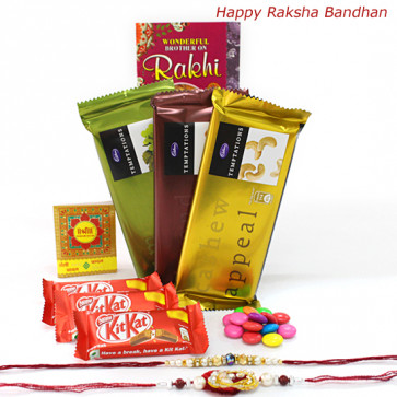 Rakhi Delight - Temptations Bars 3 pcs, 3 Kitkat , 1 Gems with 2 Rakhi and Roli-Chawal