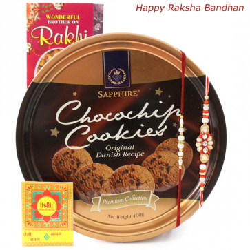 Cookie Treat - Danish Butter Cookies with 2 Rakhi and Roli-Chawal