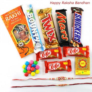 Choco Wonder - Snickers, Mars, Twix, Bounty, 3 Kitkat , 1 Gems with 2 Fancy Rakhi and Roli-Chawal