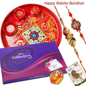 Choco Celebration Thali - Meenakari Thali 6 inch, Celebrations with 2 Rakhi and Roli-Chawal