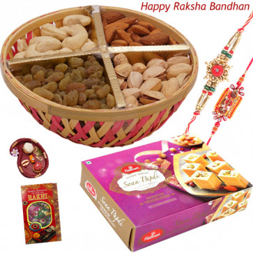 Sweet & Nuts - Assorted Dry Fruit 500 gms Basket, Haldiram Soan Papdi with 2 Rakhi and Roli-Chawal