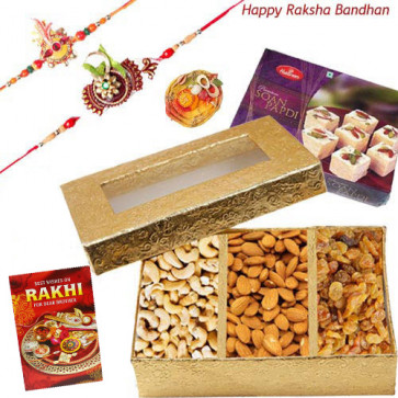 Golden Assorted Treat - Assorted Dry Fruit, Haldiram Soan Papdi with 2 Rakhi and Roli-Chawal