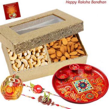 Artistic Tray - Cashewnut, Almonds, Meenakari Thali 6 inch with 2 Rakhi and Roli-Chawal
