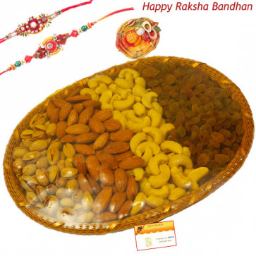Rich Treat Basket - Assorted Dry Fruits Basket 500 gms with 2 Rakhi and Roli-Chawal