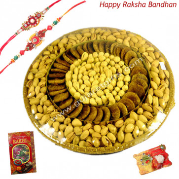 Grand Rakhi Assortment - Assorted Dry Fruits Basket 1 kg with 2 Rakhi and Roli-Chawal