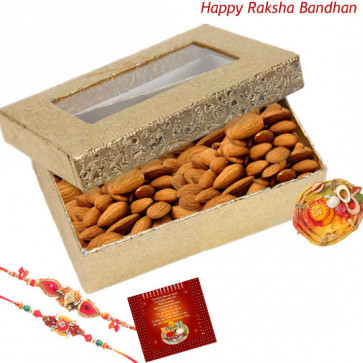Almond Special - Almonds Box with 2 Rakhi and Roli-Chawal