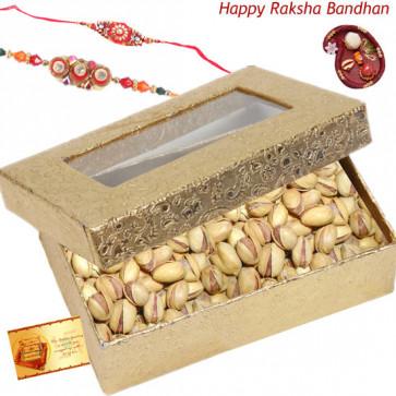 Pista Crunch -  Pistachio Box with 2 Rakhi and Roli-Chawal
