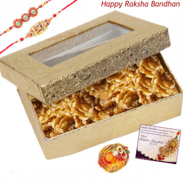 Walnut Treat -  Walnuts Box with 2 Rakhi and Roli-Chawal