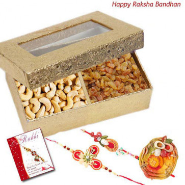 Loving Gift - Cashewnut, Raisin with 2 Rakhi and Roli-Chawal