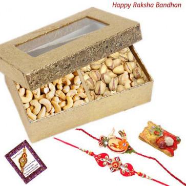 Nuts Treat - Pistachio , Cashewnut with 2 Rakhi and Roli-Chawal