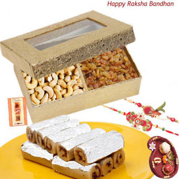 Sweetest Love - Cashewnut & Raisin, Kaju Anjir Rolls with 2 Rakhi and Roli-Chawal