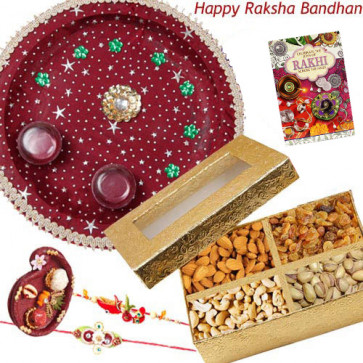 Wonderful Thali - Assorted Dry Fruits Box, Puja Thali (M) with 2 Rakhi and Roli-Chawal