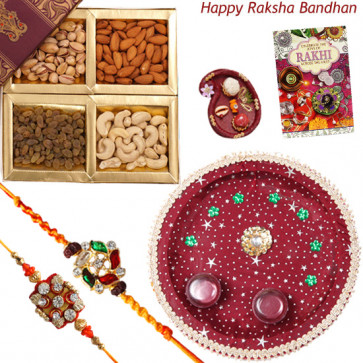 Alluring Thali - Assorted Dry Fruits 200 gms, Puja Thali (M) with 2 Fancy Rakhis and Roli-Chawal
