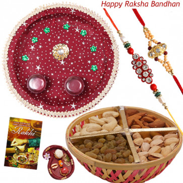 Grand Rakhi Hamper - Assorted Dry Fruits Basket 500 gms, Puja Thali (M) with 2 Rakhi and Roli-Chawal