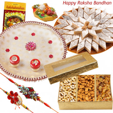 Sweets with Thali - Assorted Dry Fruits 200 gms, Kaju Katli 250 gms , Puja Thali (W) with 2 Rakhi and Roli-Chawal