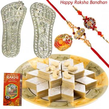 Luck & Delight - Silver Laxmi Step Pair - 6 gms + Kaju Katli 250 gms with 2 Rakhi and Roli-Chawal