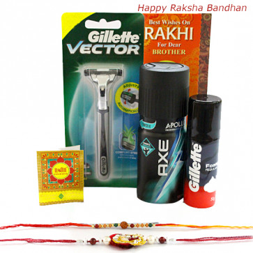 Perfect Hamper - Gillette Foam, Gillette Razor, Axe Deo with 2 Rakhi and Roli-Chawal