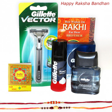 Perfect Menz Hamper - Gillette Razor, Foam, Aftershave with 2 Rakhi and Roli-Chawal