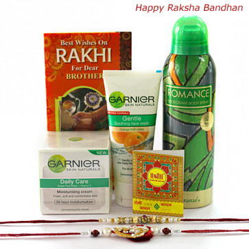 Perfect Gift Set - Garnier Face Wash, Moisturizer, Rassasi Deo with 2 Rakhi and Roli-Chawal
