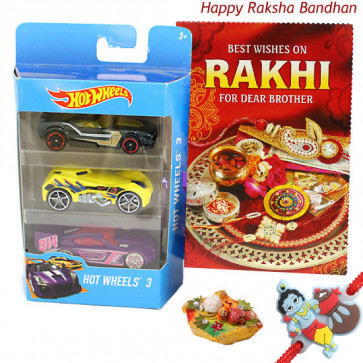 Hotwheels Delight - Hotwheels set of 3 Cars with 1 Cute Krishna Rakhi and Roli-Chawal